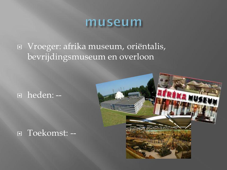  Vroeger: afrika museum, oriëntalis, bevrijdingsmuseum en overloon  heden: --  Toekomst: --