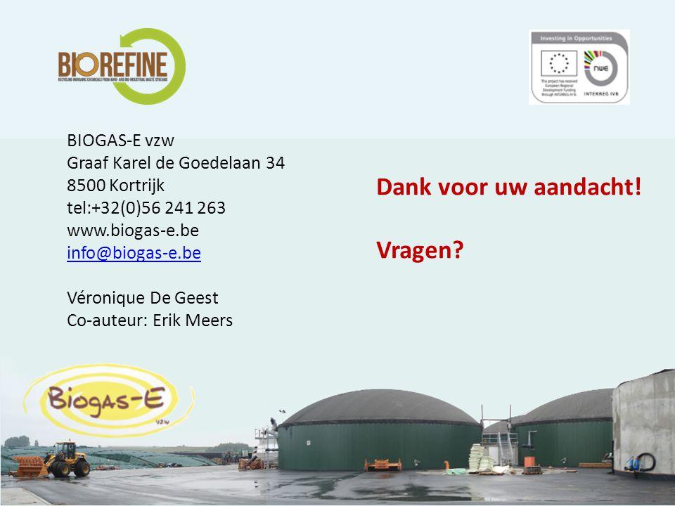 17 BIOGAS-E vzw Graaf Karel de Goedelaan 34 8500 Kortrijk tel:+32(0)56 241 263 www.biogas-e.be info@biogas-e.be Véronique De Geest Co-auteur: Erik Meers Dank voor uw aandacht.