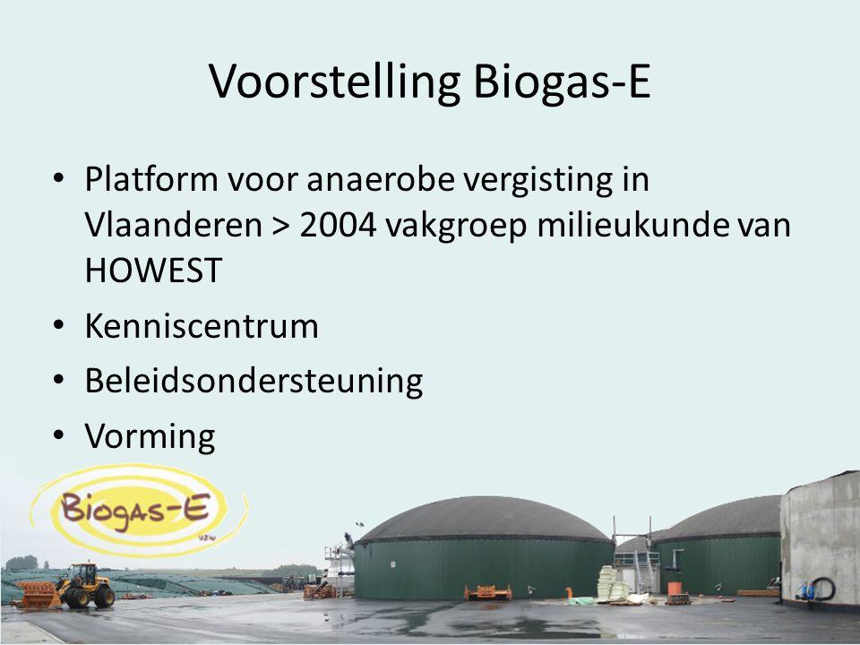 Voorstelling Biogas-E Platform voor anaerobe vergisting in Vlaanderen > 2004 vakgroep milieukunde van HOWEST Kenniscentrum Beleidsondersteuning Vorming
