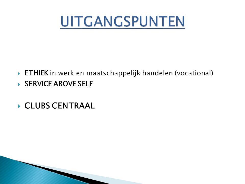  ETHIEK in werk en maatschappelijk handelen (vocational)  SERVICE ABOVE SELF  CLUBS CENTRAAL