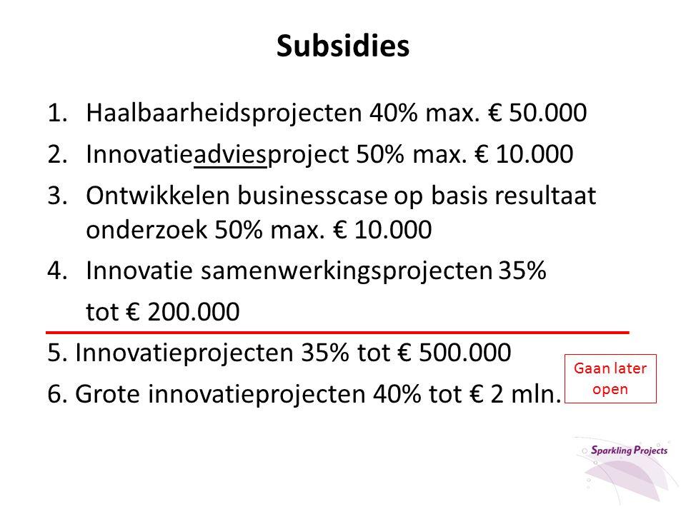 Subsidies 1.Haalbaarheidsprojecten 40% max. € 50.000 2.Innovatieadviesproject 50% max. € 10.000 3.Ontwikkelen businesscase op basis resultaat onderzoe