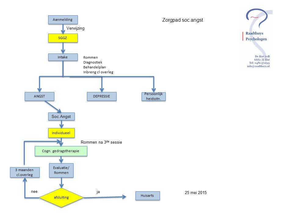 Aanmelding SGGZ Intake ANGST DEPRESSIE Persoonlijk heidsstn. Rommen Diagnostiek Behandelplan Inbreng cl overleg Verwijzing Soc.Angst Individueel Cogn.