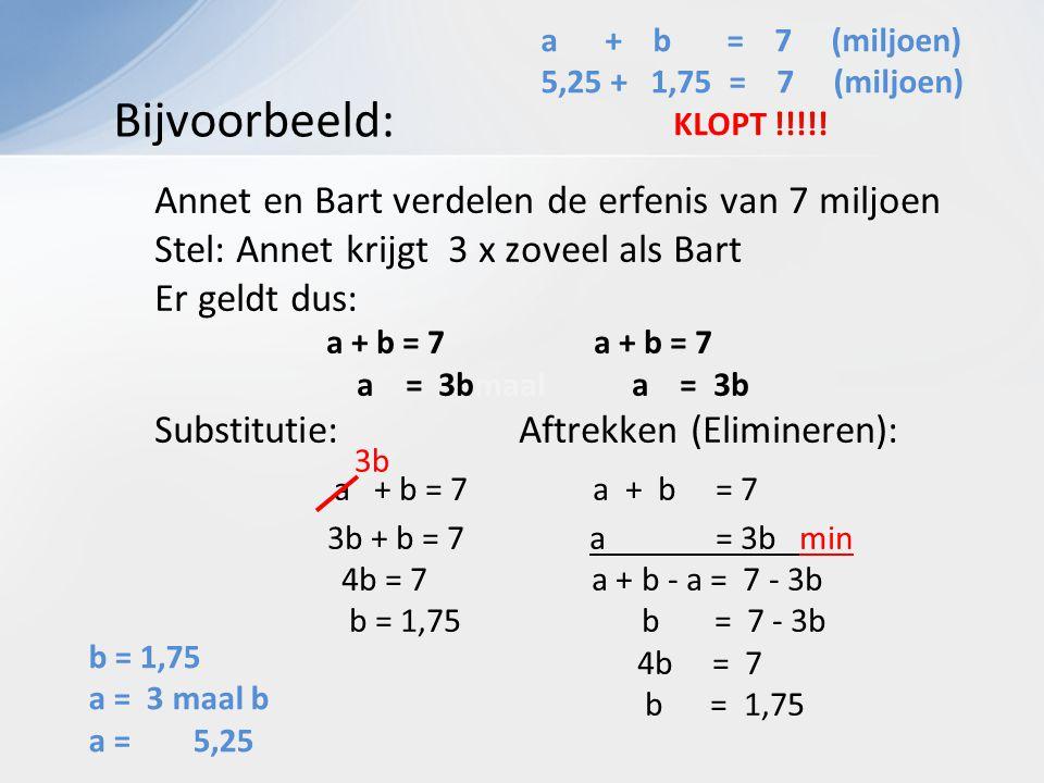 Annet en Bart verdelen de erfenis van 7 miljoen Stel: Annet krijgt 3 x zoveel als Bart Er geldt dus: a + b = 7 a + b = 7 a = 3bmaal a = 3b Substitutie: Aftrekken (Elimineren): a + b = 7 a + b = 7 3b + b = 7 a = 3b min 4b = 7 a + b - a = 7 - 3b b = 1,75 b = 7 - 3b 4b = 7 b = 1,75 Bijvoorbeeld: 3b a + b = 7 (miljoen) 5,25 + 1,75 = 7 (miljoen) KLOPT !!!!.