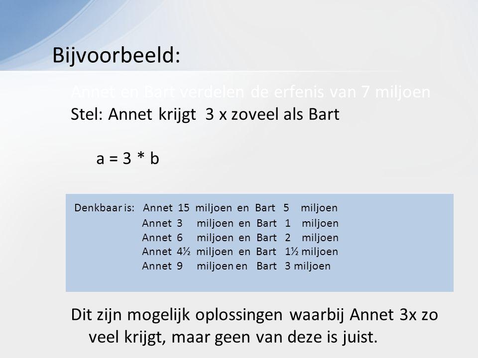 Annet en Bart verdelen de erfenis van 7 miljoen Stel: Annet krijgt 3 x zoveel als Bart a = 3 * b Dit zijn mogelijk oplossingen waarbij Annet 3x zo veel krijgt, maar geen van deze is juist.