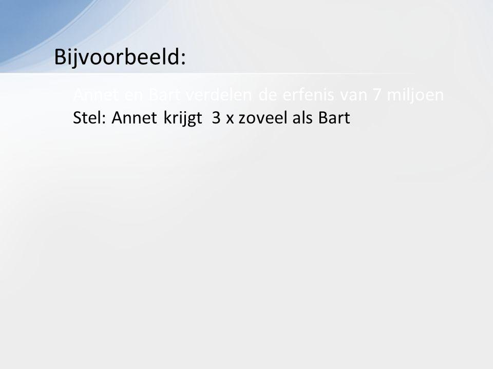Annet en Bart verdelen de erfenis van 7 miljoen Stel: Annet krijgt 3 x zoveel als Bart Bijvoorbeeld: