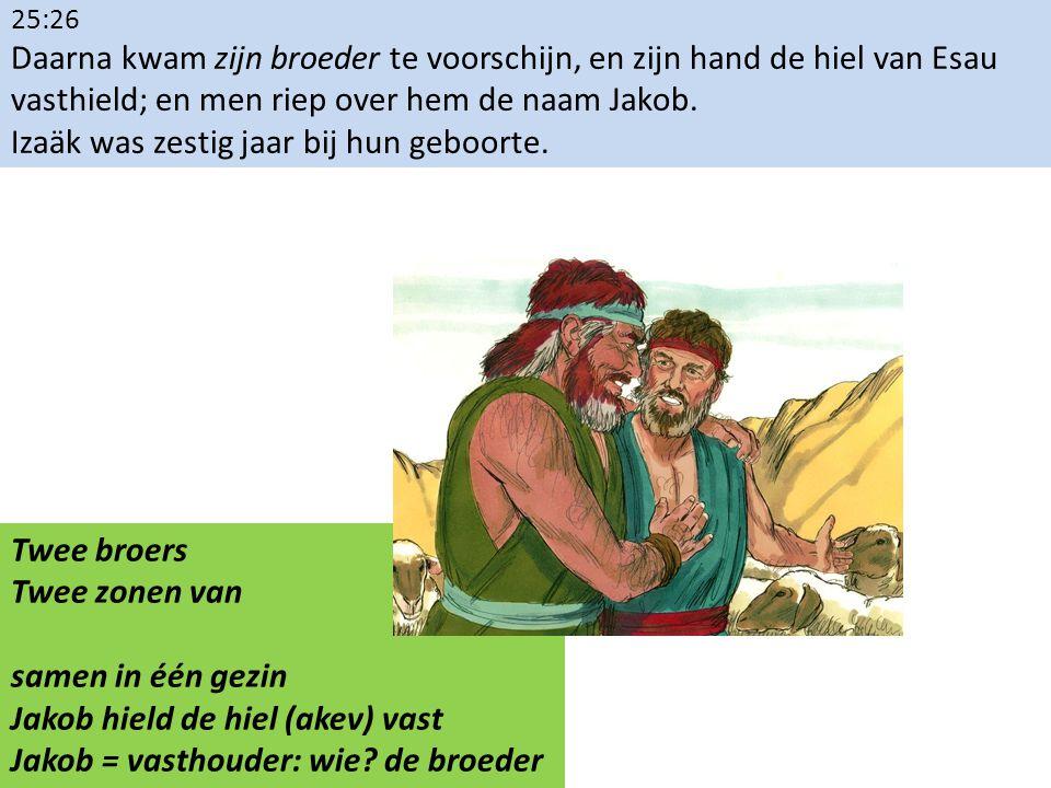 25:26 Daarna kwam zijn broeder te voorschijn, en zijn hand de hiel van Esau vasthield; en men riep over hem de naam Jakob. Izaäk was zestig jaar bij h