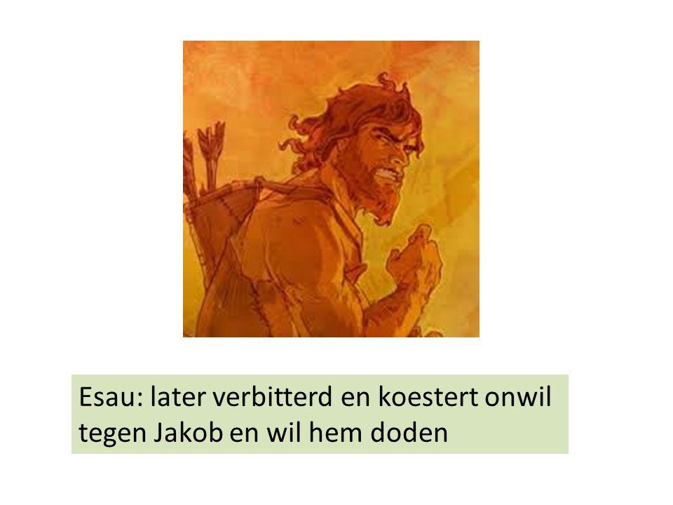 Esau: later verbitterd en koestert onwil tegen Jakob en wil hem doden