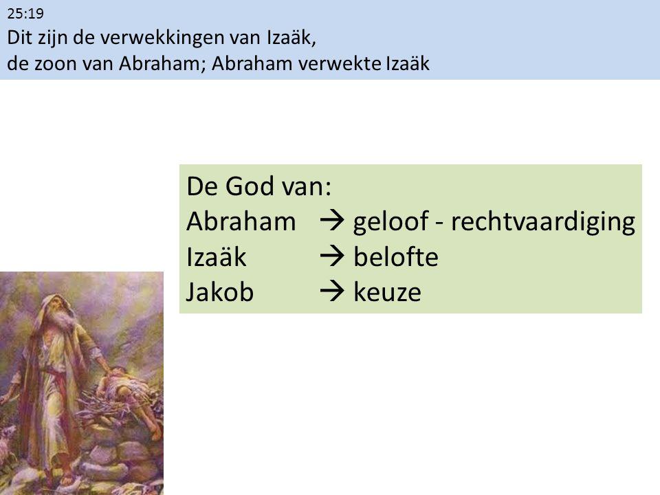 25:19 Dit zijn de verwekkingen van Izaäk, de zoon van Abraham; Abraham verwekte Izaäk De God van: Abraham  geloof - rechtvaardiging Izaäk  belofte J