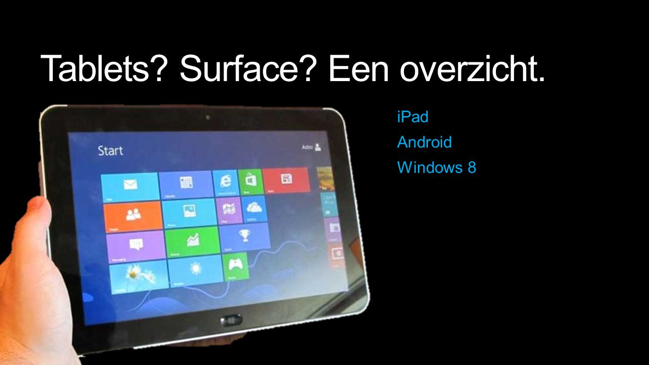 Tablets? Surface? Een overzicht. iPad Android Windows 8