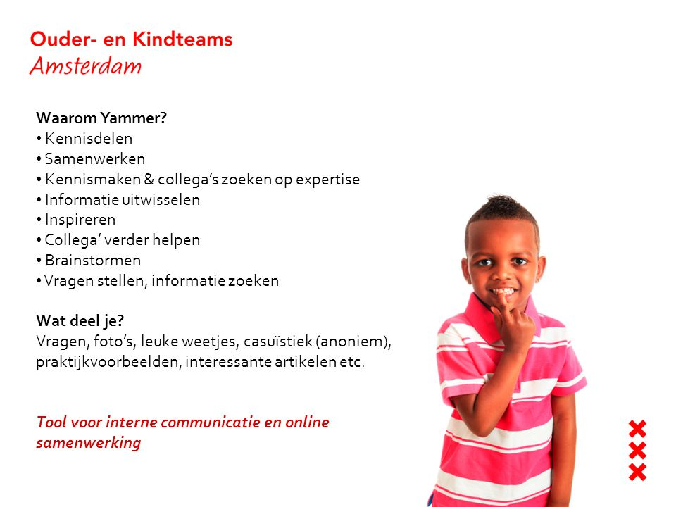 Stap 1: aanmelden op Yammer Ga naar https://www.yammer.com/ouder-enkindteamhttps://www.yammer.com/ouder-enkindteam Vul je zakelijke e-mailadres in en klik op 'join' (je kan inloggen met je okt adres maar ook met je oude emailadres wanneer je dat Yammer netwerk ook nog wilt raadplegen) Bij 'networks' zie je nu Ouder- en Kindteam staan, op deze manier kan je eenvoudig switchen tussen Yammer accounts Tip: download de app Heb je een smartphone en/of een tablet.
