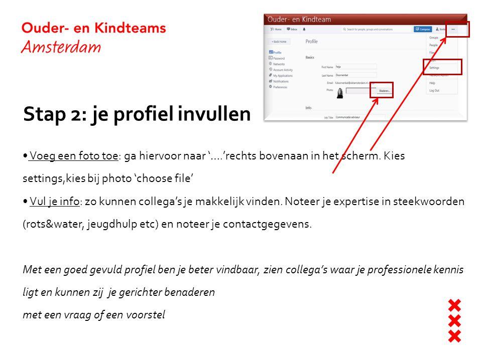 Stap 2: je profiel invullen Voeg een foto toe: ga hiervoor naar '….'rechts bovenaan in het scherm. Kies settings,kies bij photo 'choose file' Vul je i