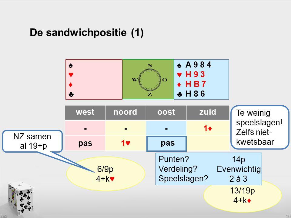 2e9 10 De sandwichpositie (1) westnoordoostzuid ---1♦ pas1♥1♥ ♠♥♦♣♠♥♦♣ ♠♥♦♣♠♥♦♣ .