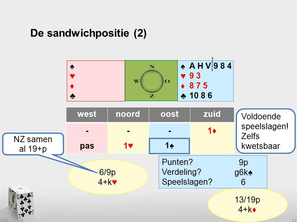 2e9 11 De sandwichpositie (2) westnoordoostzuid ---1♦ pas1♥1♥ ♠♥♦♣♠♥♦♣ ♠♥♦♣♠♥♦♣ .