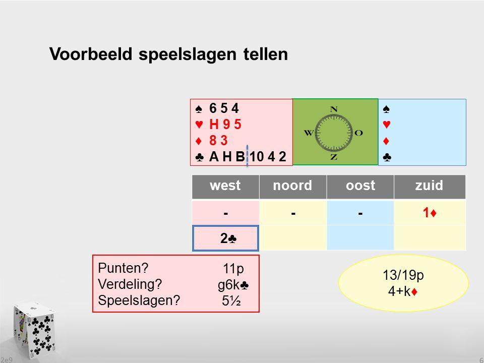 2e9 6 Voorbeeld speelslagen tellen westnoordoostzuid ---1♦ ♠♥♦♣♠♥♦♣ ♠6 5 4 ♥H 9 5 ♦8 3 ♣A H B 10 4 2 Punten.