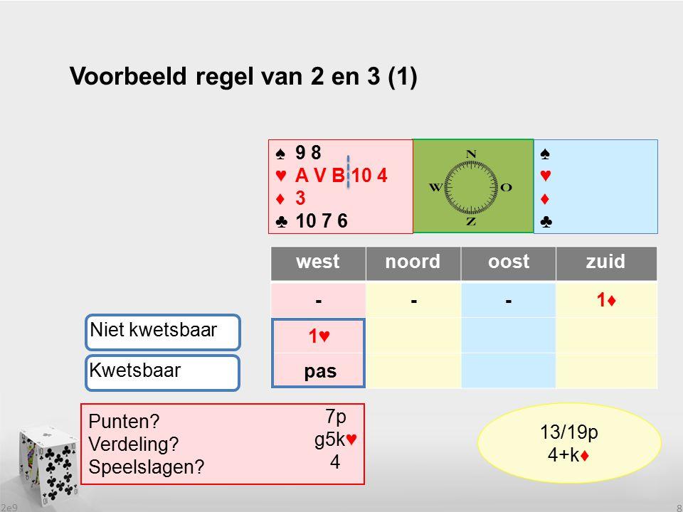 2e9 9 Voorbeeld regel van 2 en 3 (2) westnoordoostzuid ---1♦ ♠♥♦♣♠♥♦♣ ♠9 8 ♥B 10 4 ♦5 3 2 ♣A H V B 7 Niet kwetsbaar Punten.