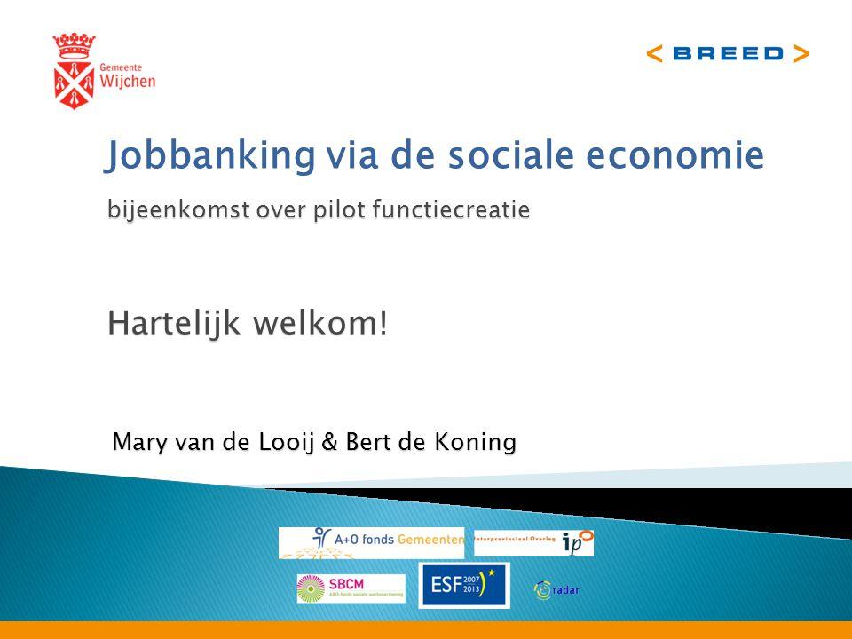 bijeenkomst over pilot functiecreatie Jobbanking via de sociale economie bijeenkomst over pilot functiecreatie Hartelijk welkom.