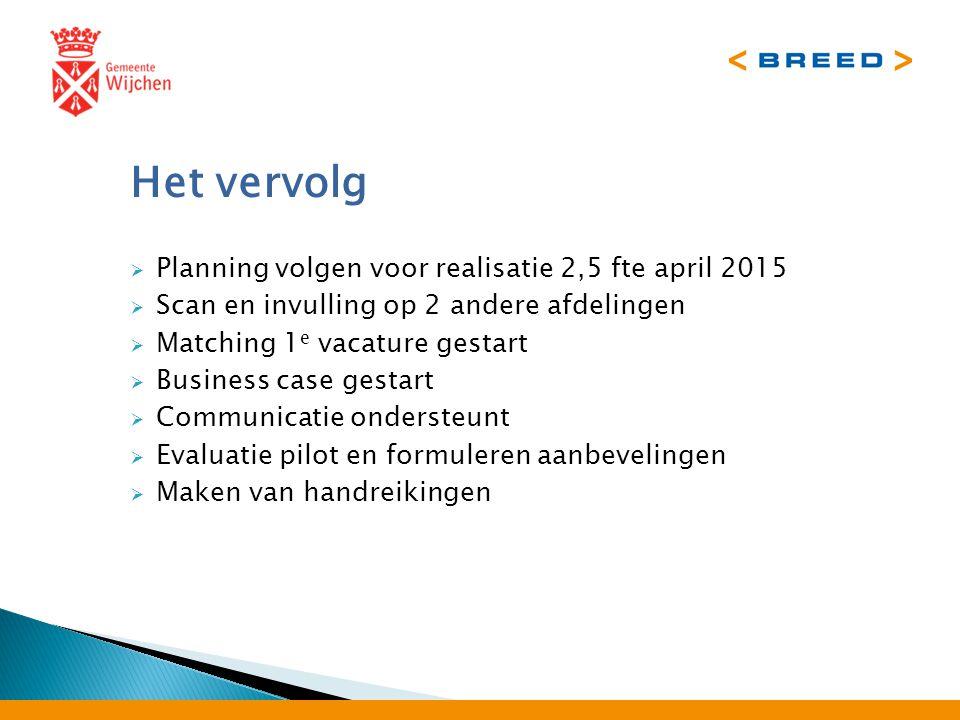 Het vervolg  Planning volgen voor realisatie 2,5 fte april 2015  Scan en invulling op 2 andere afdelingen  Matching 1 e vacature gestart  Business case gestart  Communicatie ondersteunt  Evaluatie pilot en formuleren aanbevelingen  Maken van handreikingen