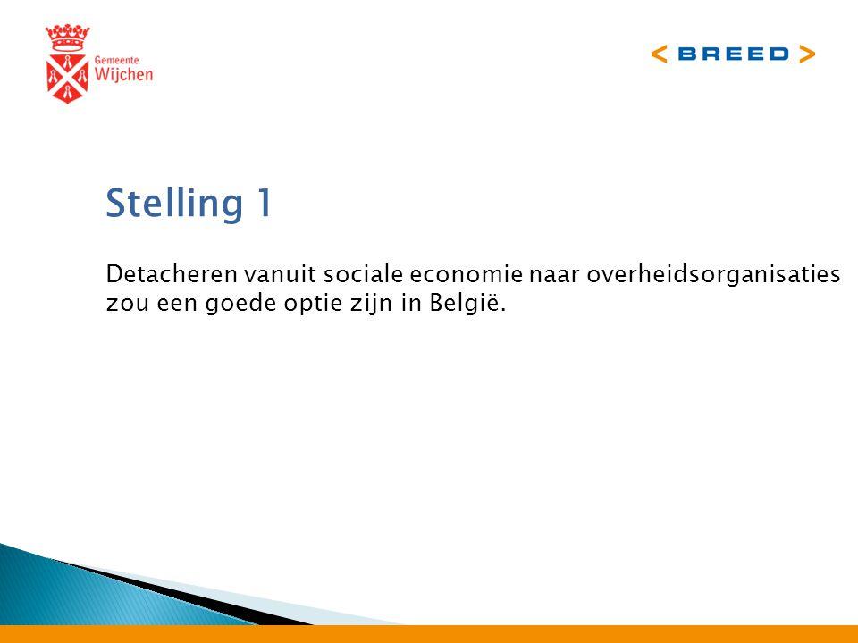 Stelling 1 Detacheren vanuit sociale economie naar overheidsorganisaties zou een goede optie zijn in België.