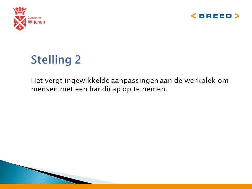 Stelling 2 Het vergt ingewikkelde aanpassingen aan de werkplek om mensen met een handicap op te nemen.