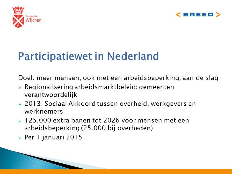 Participatiewet in Nederland Doel: meer mensen, ook met een arbeidsbeperking, aan de slag  Regionalisering arbeidsmarktbeleid: gemeenten verantwoordelijk  2013: Sociaal Akkoord tussen overheid, werkgevers en werknemers  125.000 extra banen tot 2026 voor mensen met een arbeidsbeperking (25.000 bij overheden)  Per 1 januari 2015