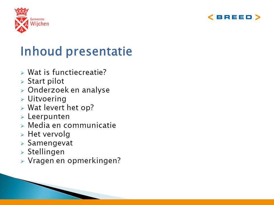Inhoud presentatie  Wat is functiecreatie.