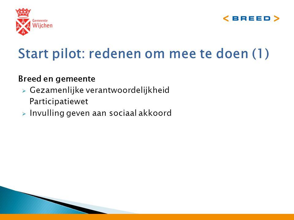 Start pilot: redenen om mee te doen (1) Breed en gemeente  Gezamenlijke verantwoordelijkheid Participatiewet  Invulling geven aan sociaal akkoord