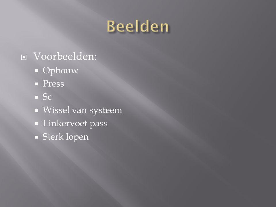  Voorbeelden:  Opbouw  Press  Sc  Wissel van systeem  Linkervoet pass  Sterk lopen
