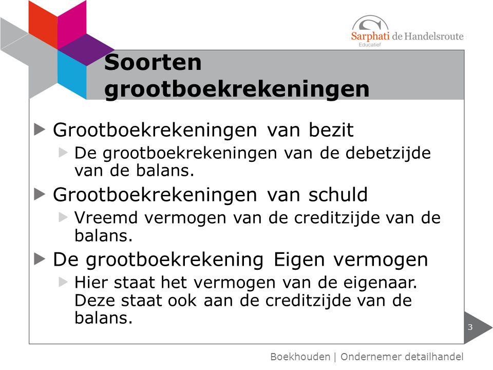Grootboekrekeningen van bezit De grootboekrekeningen van de debetzijde van de balans.