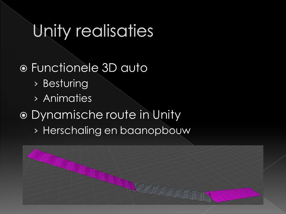  Functionele 3D auto › Besturing › Animaties  Dynamische route in Unity › Herschaling en baanopbouw