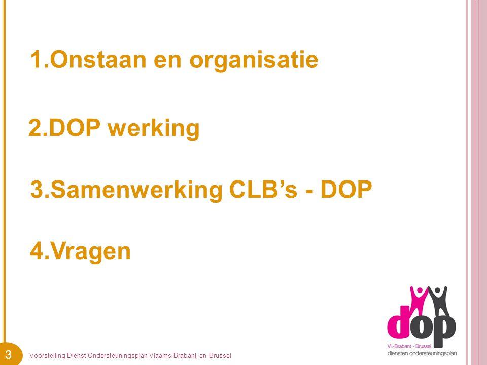 3 1.Onstaan en organisatie Voorstelling Dienst Ondersteuningsplan Vlaams-Brabant en Brussel 2.DOP werking 3.Samenwerking CLB's - DOP 4.Vragen