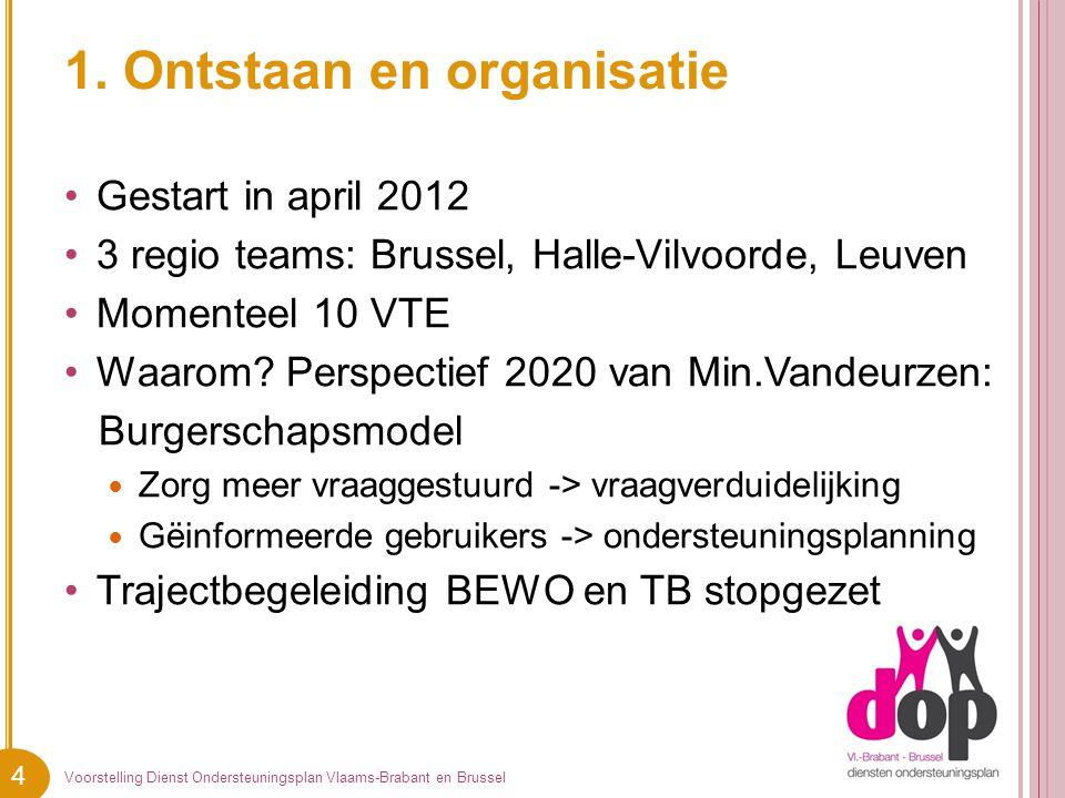 4 1. Ontstaan en organisatie Gestart in april 2012 3 regio teams: Brussel, Halle-Vilvoorde, Leuven Momenteel 10 VTE Waarom? Perspectief 2020 van Min.V