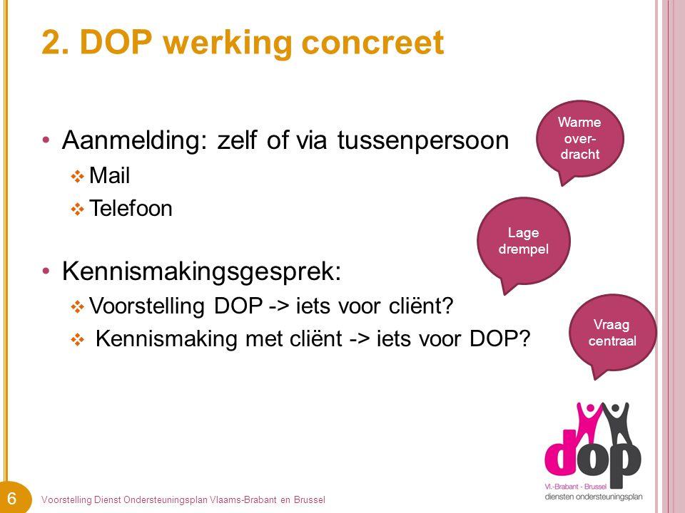 6 2. DOP werking concreet Aanmelding: zelf of via tussenpersoon  Mail  Telefoon Kennismakingsgesprek:  Voorstelling DOP -> iets voor cliënt?  Kenn