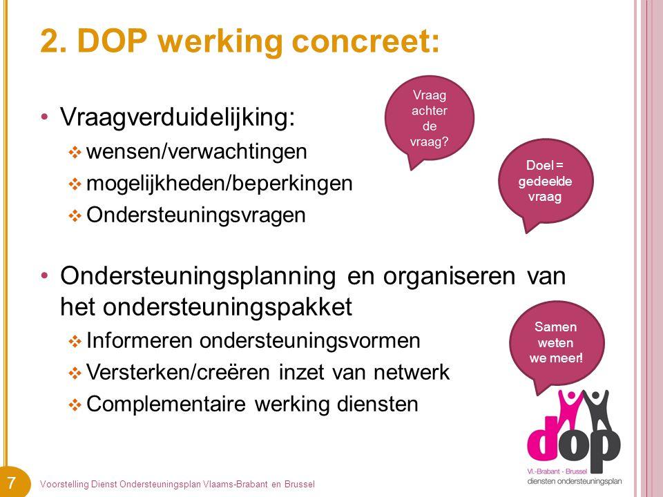 7 2. DOP werking concreet: Vraagverduidelijking:  wensen/verwachtingen  mogelijkheden/beperkingen  Ondersteuningsvragen Ondersteuningsplanning en o