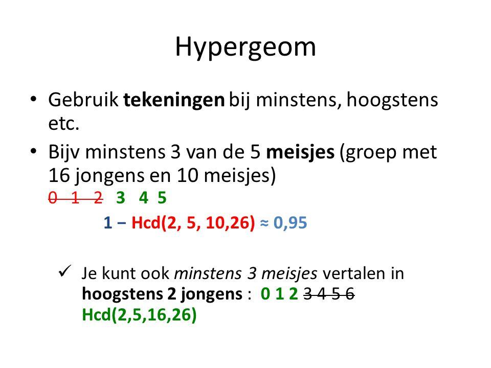 Hypergeom Gebruik tekeningen bij minstens, hoogstens etc.