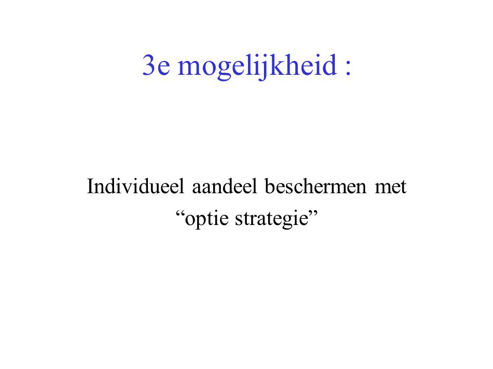 3e mogelijkheid : Individueel aandeel beschermen met optie strategie