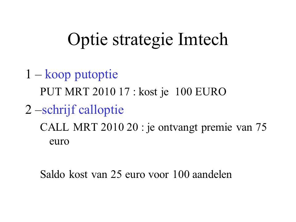 Optie strategie Imtech 1 – koop putoptie PUT MRT 2010 17 : kost je 100 EURO 2 –schrijf calloptie CALL MRT 2010 20 : je ontvangt premie van 75 euro Saldo kost van 25 euro voor 100 aandelen