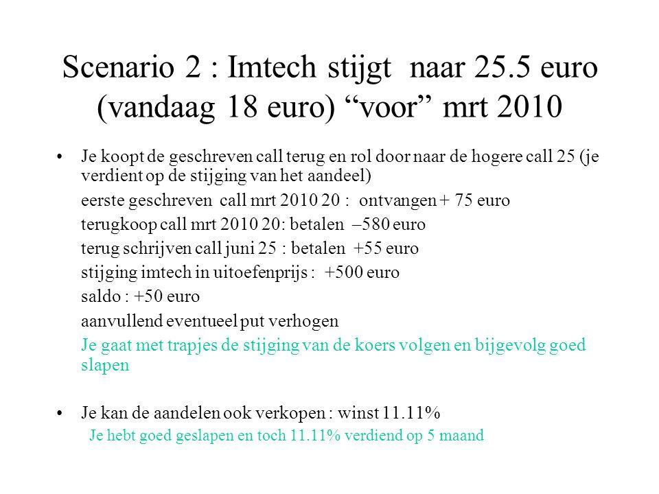 Scenario 2 : Imtech stijgt naar 25.5 euro (vandaag 18 euro) voor mrt 2010 Je koopt de geschreven call terug en rol door naar de hogere call 25 (je verdient op de stijging van het aandeel) eerste geschreven call mrt 2010 20 : ontvangen + 75 euro terugkoop call mrt 2010 20: betalen –580 euro terug schrijven call juni 25 : betalen +55 euro stijging imtech in uitoefenprijs : +500 euro saldo : +50 euro aanvullend eventueel put verhogen Je gaat met trapjes de stijging van de koers volgen en bijgevolg goed slapen Je kan de aandelen ook verkopen : winst 11.11% Je hebt goed geslapen en toch 11.11% verdiend op 5 maand