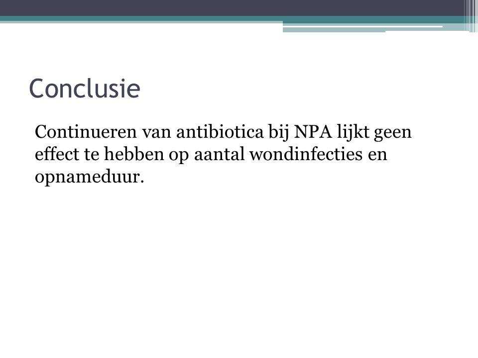 Toepassing voor de kliniek Antibiotica na appendectomie bij niet geperforeerde appendicitis?