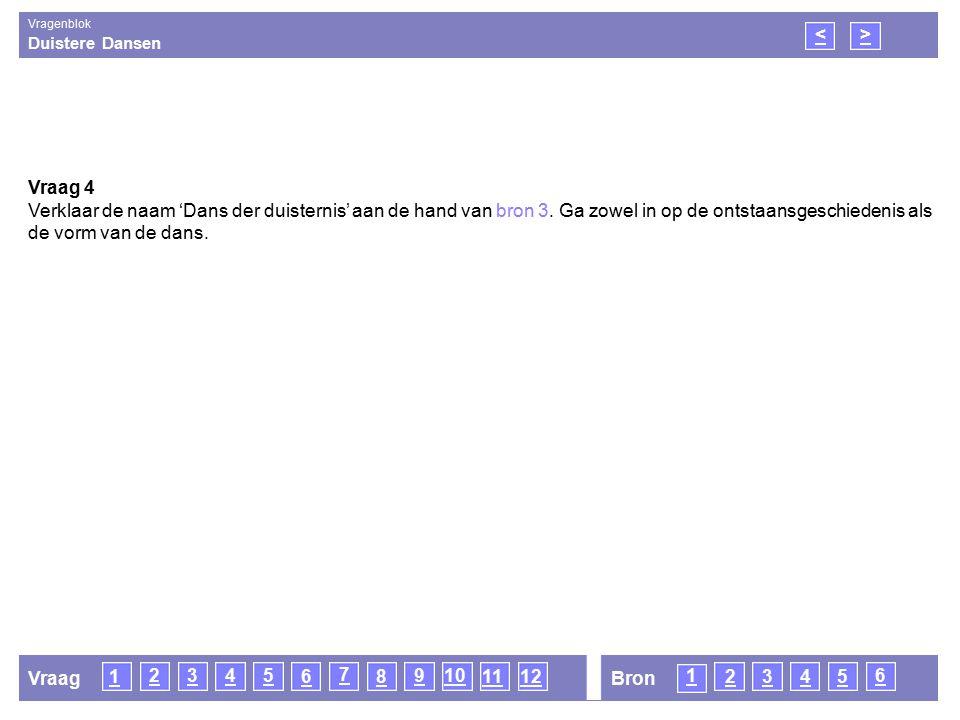 Duistere Dansen Vragenblok 16 1 3 6 <> Vraag 4 Verklaar de naam 'Dans der duisternis' aan de hand van bron 3.