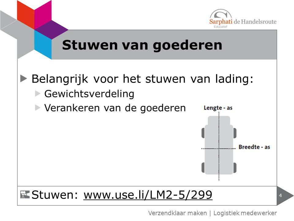 Belangrijk voor het stuwen van lading: Gewichtsverdeling Verankeren van de goederen 4 Verzendklaar maken | Logistiek medewerker Stuwen van goederen Stuwen: www.use.li/LM2-5/299www.use.li/LM2-5/299