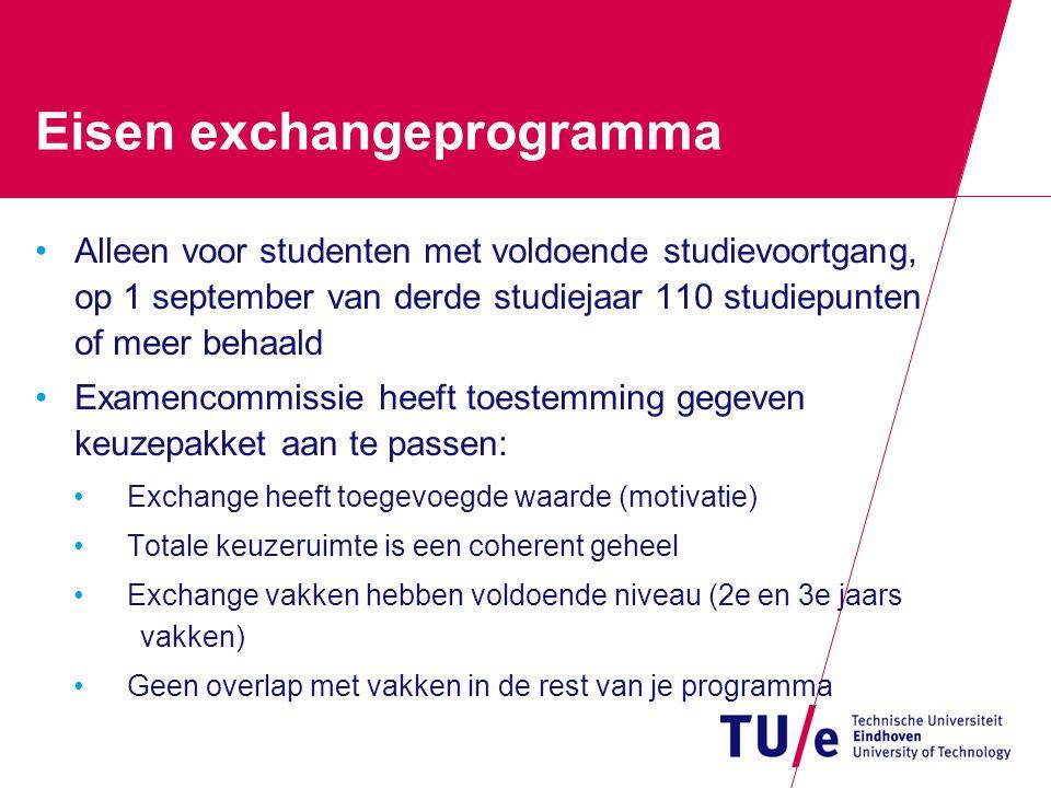 Eisen exchangeprogramma Alleen voor studenten met voldoende studievoortgang, op 1 september van derde studiejaar 110 studiepunten of meer behaald Exam