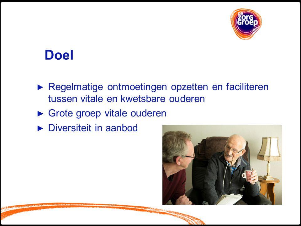 Doel ► Regelmatige ontmoetingen opzetten en faciliteren tussen vitale en kwetsbare ouderen ► Grote groep vitale ouderen ► Diversiteit in aanbod