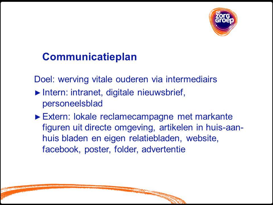 Communicatieplan Doel: werving vitale ouderen via intermediairs ► Intern: intranet, digitale nieuwsbrief, personeelsblad ► Extern: lokale reclamecampa