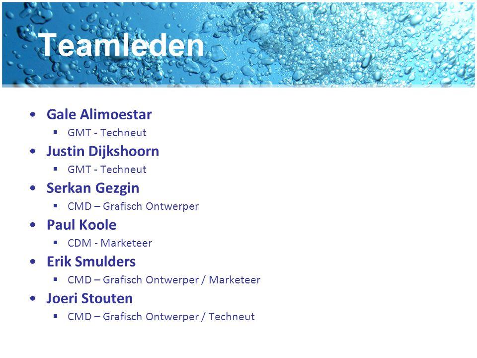 Teamleden Gale Alimoestar  GMT - Techneut Justin Dijkshoorn  GMT - Techneut Serkan Gezgin  CMD – Grafisch Ontwerper Paul Koole  CDM - Marketeer Er