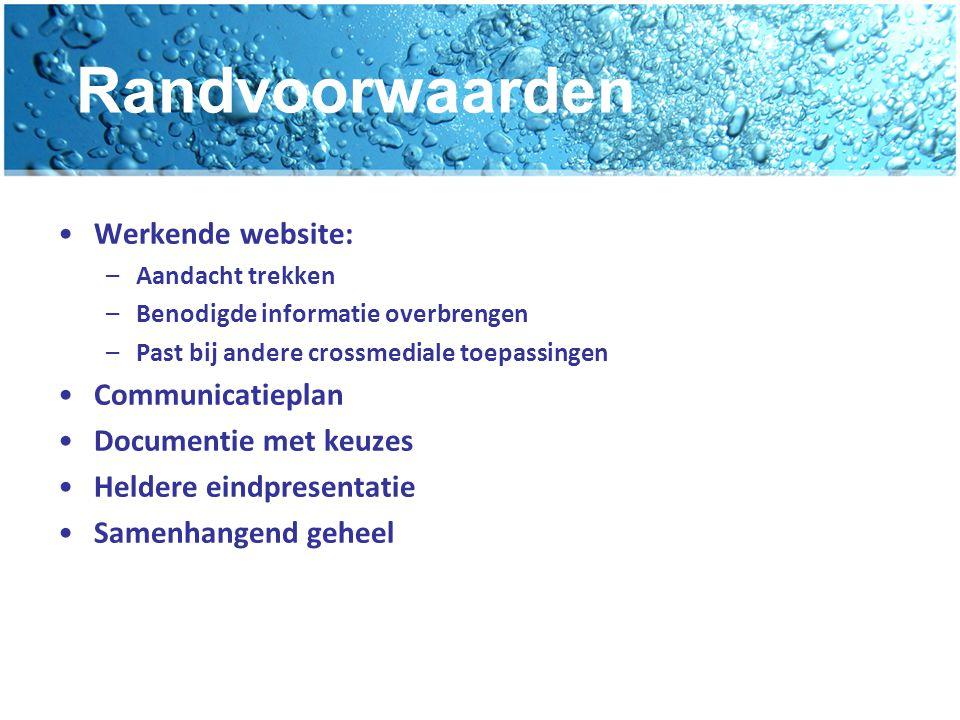 Randvoorwaarden Werkende website: –Aandacht trekken –Benodigde informatie overbrengen –Past bij andere crossmediale toepassingen Communicatieplan Docu