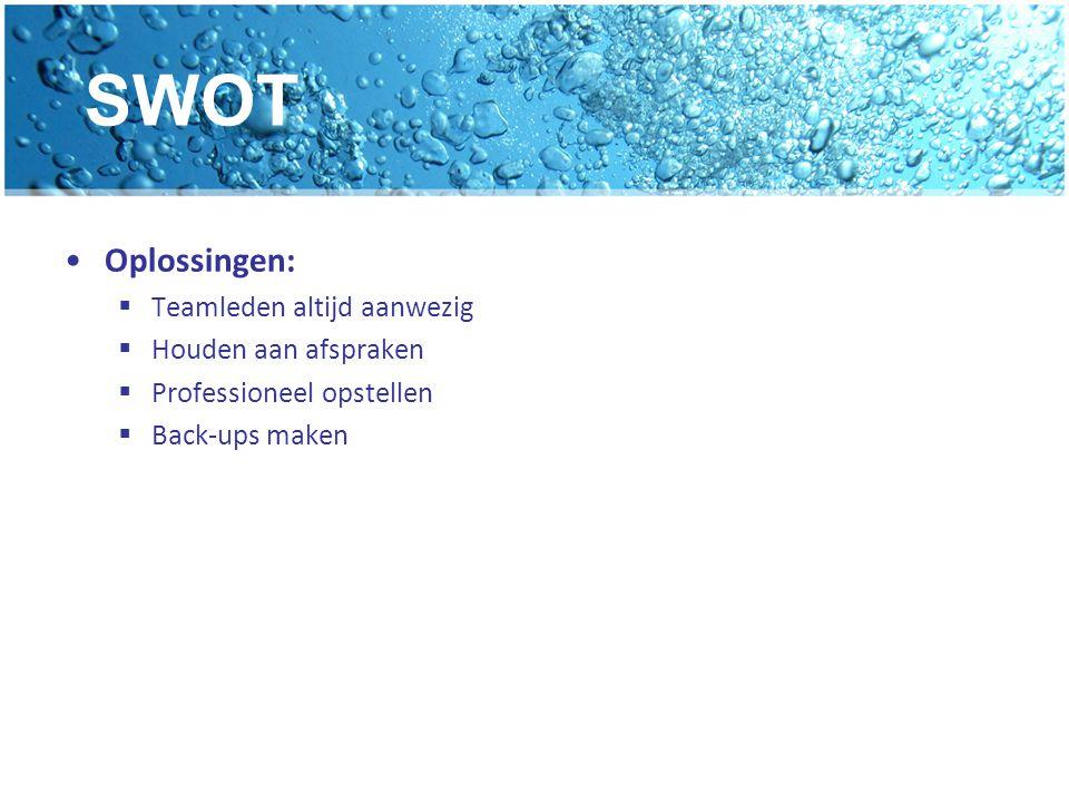 SWOT Oplossingen:  Teamleden altijd aanwezig  Houden aan afspraken  Professioneel opstellen  Back-ups maken