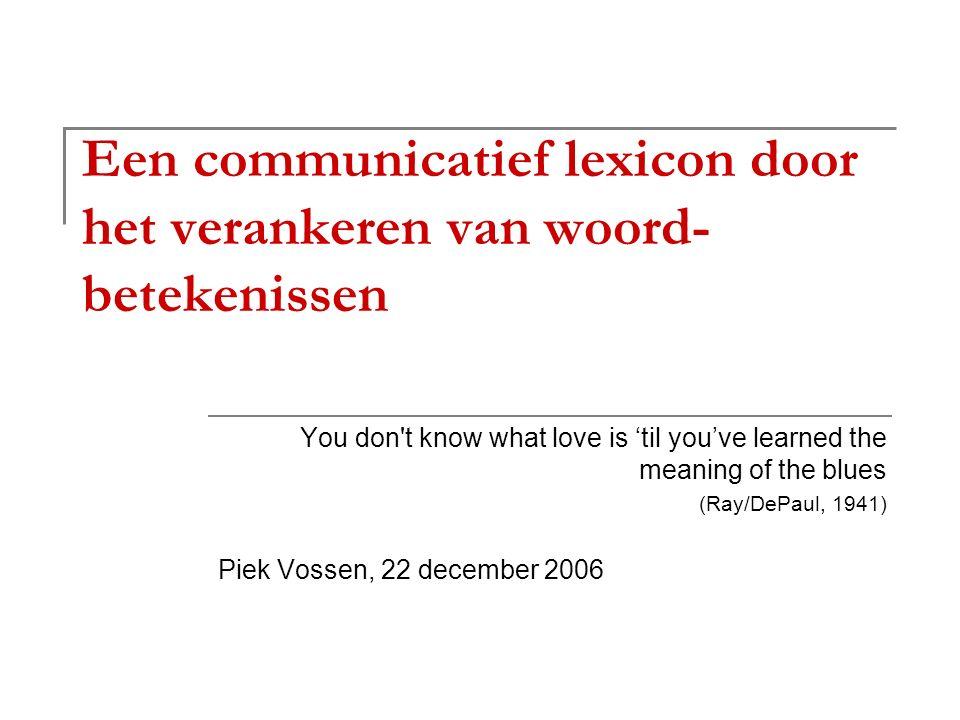 Oratie, 22 december 2006 Verankering van betekenis van taal: vraag uit de 20ste eeuw, antwoord in de 21ste.