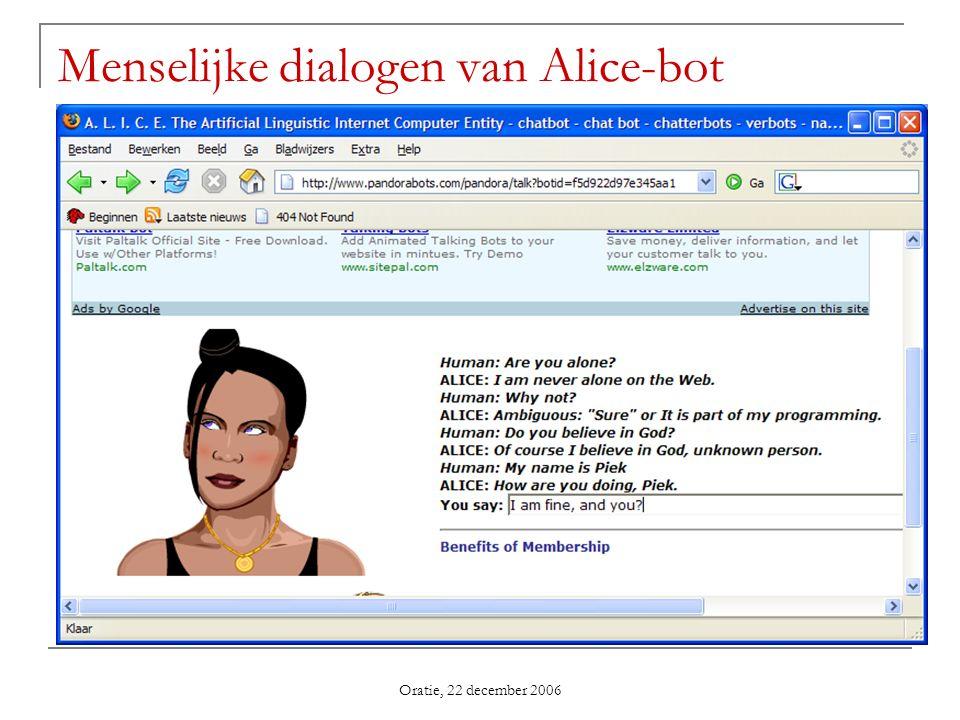 Oratie, 22 december 2006 Menselijke dialogen van Alice-bot