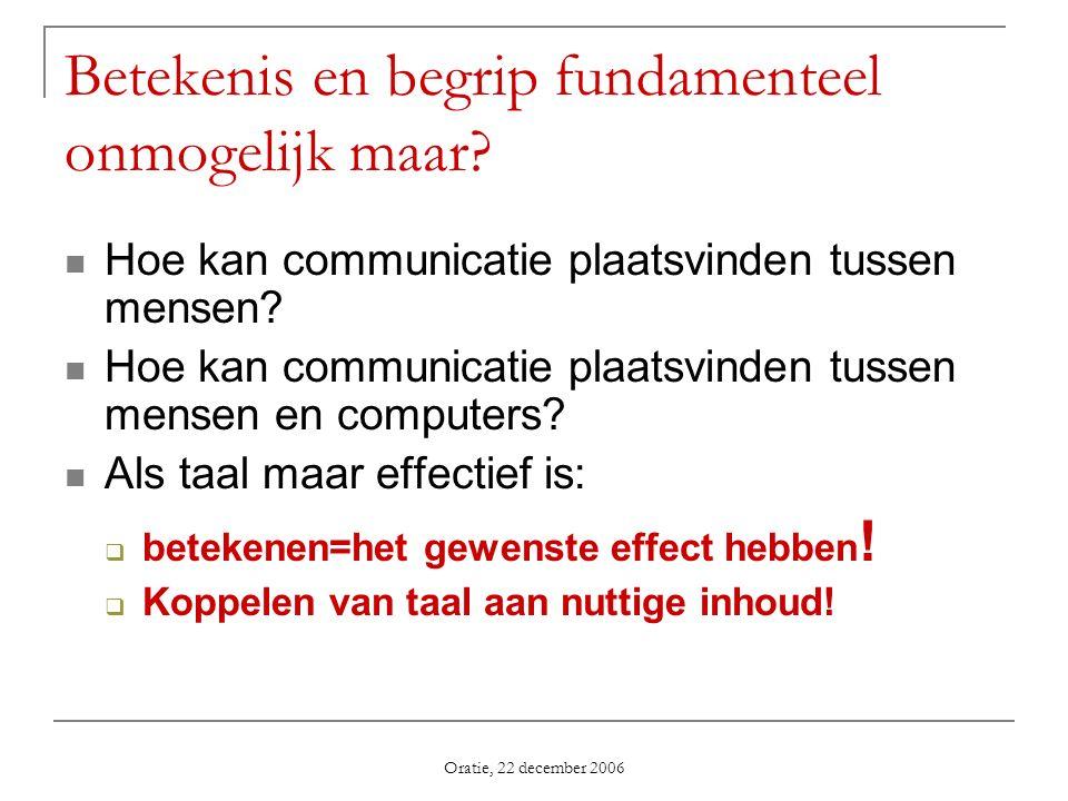 Oratie, 22 december 2006 Betekenis en begrip fundamenteel onmogelijk maar? Hoe kan communicatie plaatsvinden tussen mensen? Hoe kan communicatie plaat