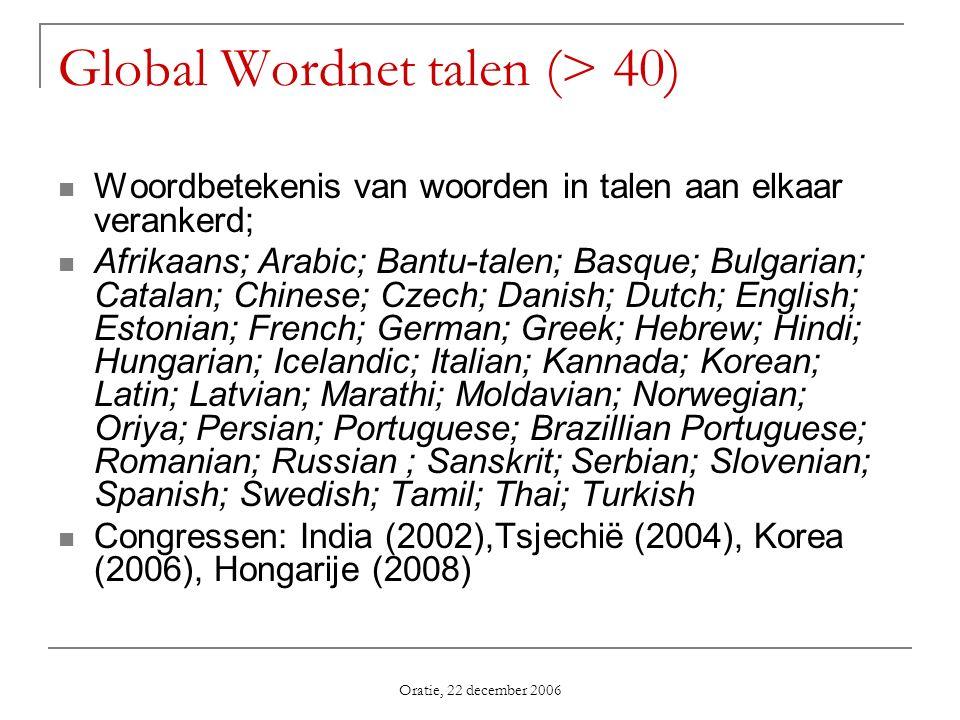 Oratie, 22 december 2006 Global Wordnet talen (> 40) Woordbetekenis van woorden in talen aan elkaar verankerd; Afrikaans; Arabic; Bantu-talen; Basque;